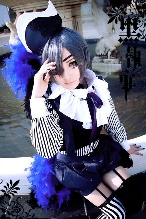 Anime Kuroshitsuji Black Butler Book of Circus Cosplay Ciel Phantomhive Cosplay Costume Full Set withe free sock