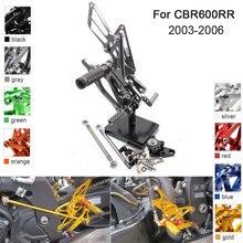 Cnc alumínio ajustável rearsets pé pegs para honda cbr600rr cbr 600rr 2007 2008