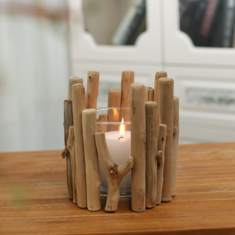 Modern Style Wooden Candle Holder With Gl Cup Wedding Gift Creative Natural Wood Tea Light Candlestick Table Decor In Holders From Home