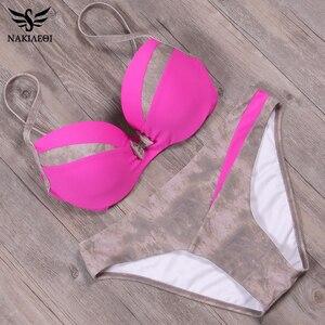 Image 4 - NAKIAEOI 2019 Newest Sexy Bikini Set Push Up Swimwear Women Swimwsuit Patchwork Bathing Suit Summer Beach Wear Swimming S~2XL