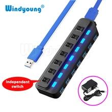 Windyoung USB3.0 концентратор 7 Порты и разъёмы с Мощность зарядки и переключатель несколько USB Мощность адаптер светодиодный на/выключения Splitter для портативных ПК