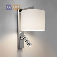 LED Nordic Iron Aluminum Fabric Rotated LED Wall lamp Wall Light wireless wall lamp Bedside lamp with Switch For Bedroom