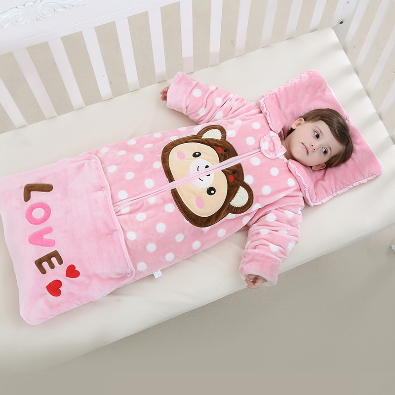 0-3 year-old the spring and autumn winter baby child anti kicking quilt baby sleeping bag with detachable thickened sleeve