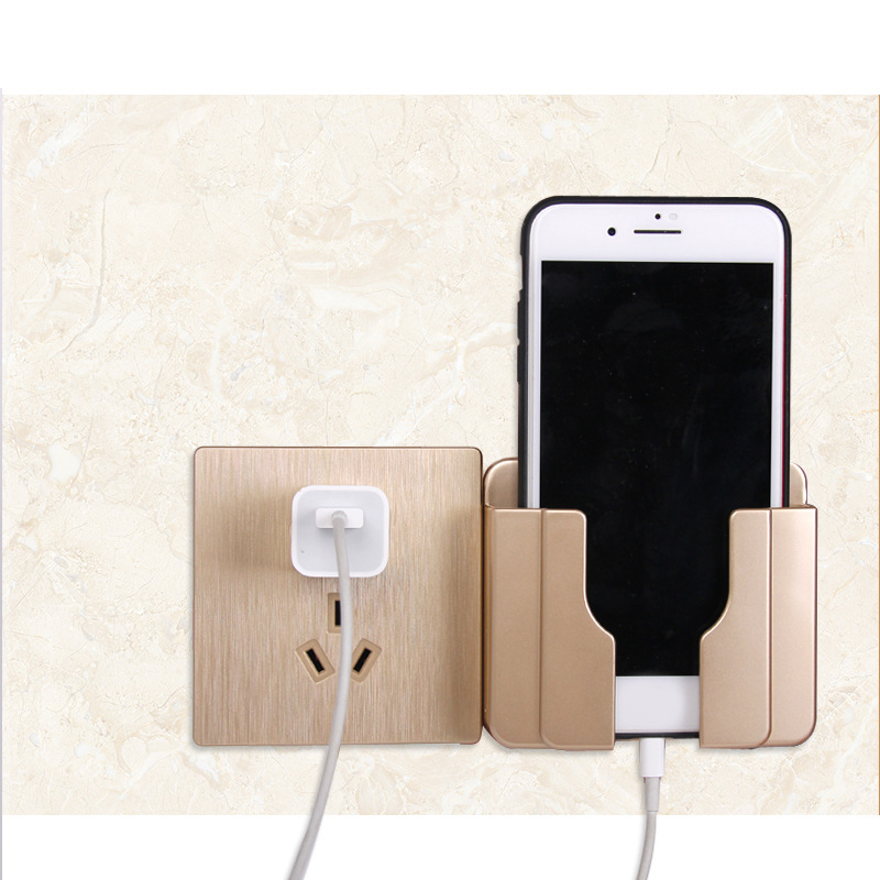 Adhesive Wall Mount Phone Holder Stand Practical Home Plug Socket Charge Holder Rack Bathroom Rack Organizer