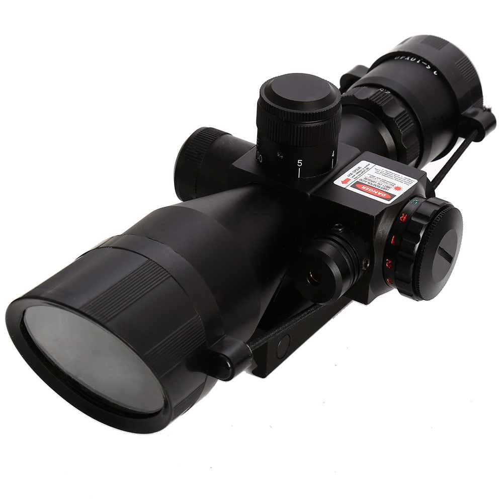 2 5 10 x 40 Hunting Tactical Rifle Scope With Red Laser Optic Sight Dual Illuminated