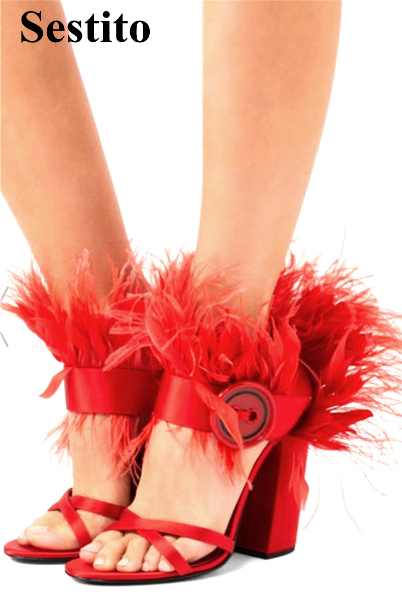 Newest Fashion Solid Feather Peep Toe Hoof Heels Wedding Women Sandals Buckle Strap Cover Heel Cross-tied High Heel Ladies Shoes v cut solid romper with tied strap