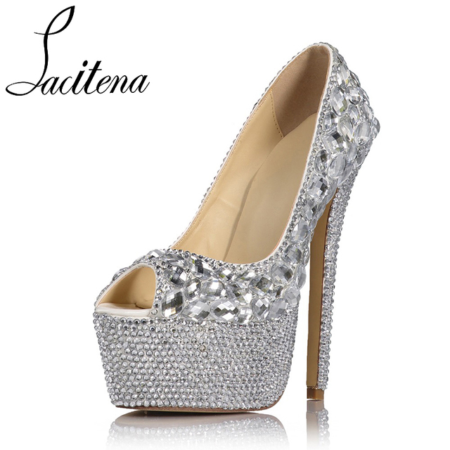 f7e7806ce6c1 Silver Glass Diamond High Heels Shoes Silver Glass Diamond Lace Shoes  Women s Pearl Shoes Women s Crystal Shoes