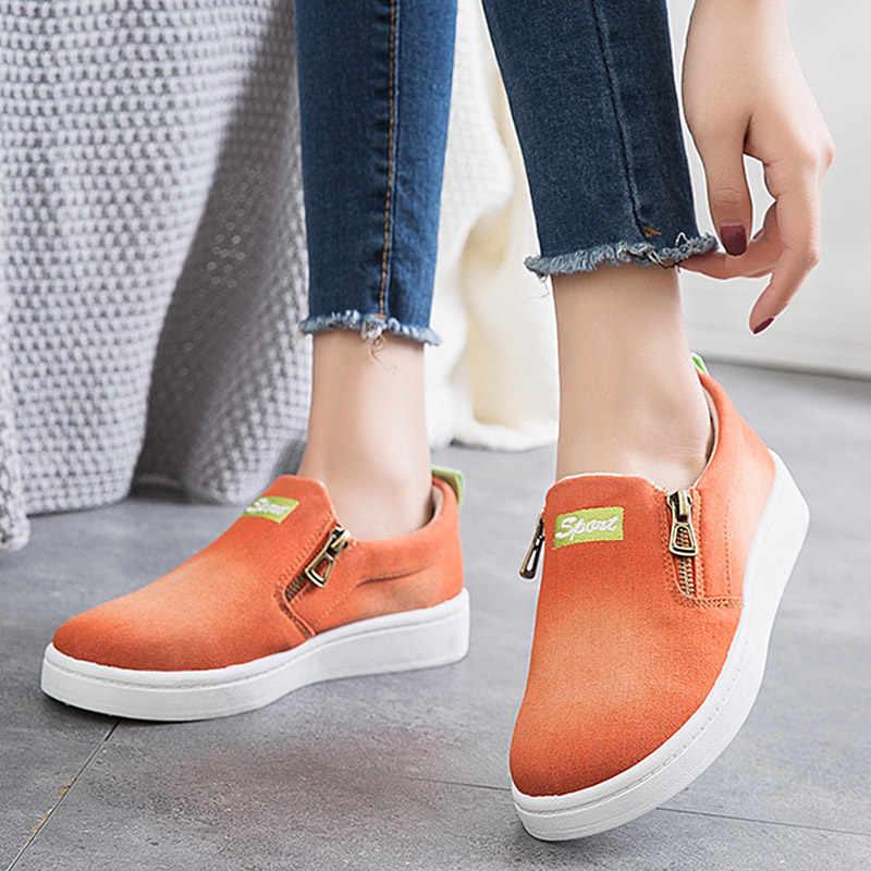 Phụ Nữ Nền Tảng Casual, Giày Vải Nữ Denim Cho Nữ Nữ Trơn Trượt Trên Mộc Mạch Trà Zapatillas Mujer Thường Ngày Plus Size 35-44