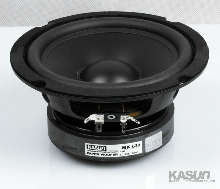 2PCS KASUN MK-630 6.5inch Woofer Speaker Driver Unit Large Magnet Black Paper Cone 8ohm/120W Fs 42Hz D167mm 2pcs kasun qa 8100 8inch woofer speaker driver unit paper cone 8ohm 140w dia 218mm fs 45hz