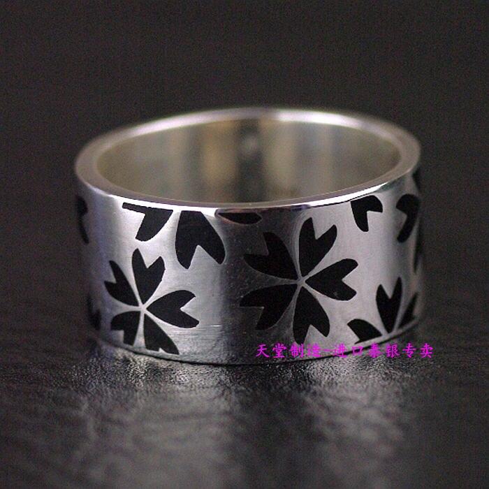 Thailand imports, 925 silver ring plate falling Sakura falling