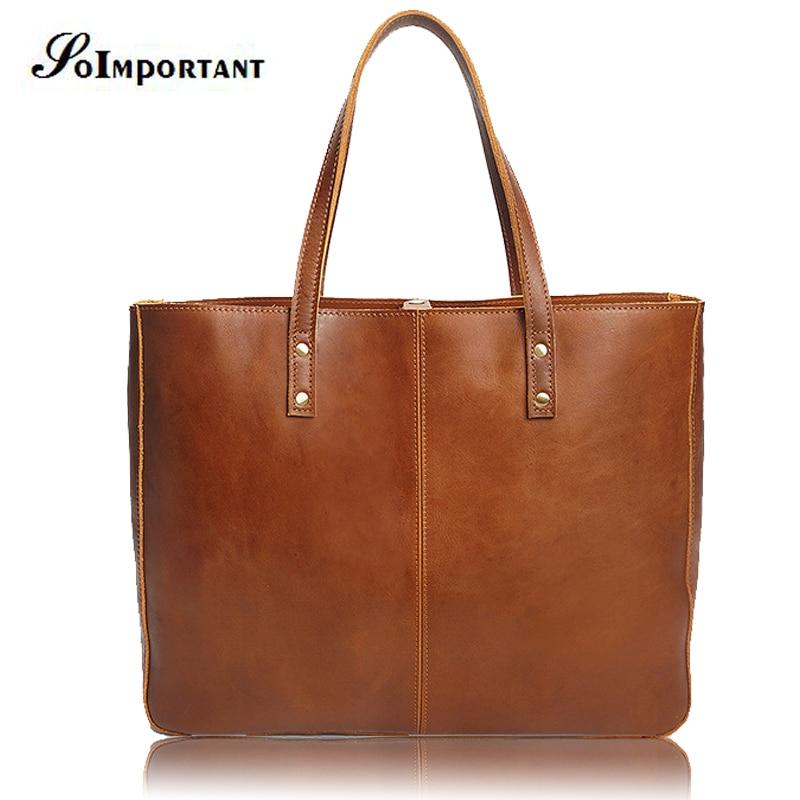 Vintage Woman Handbags Genuine Leather Bag Female Hobos Shoulder Bag Laptop High Quality Briefcase Casual Totes Women Travel Bag