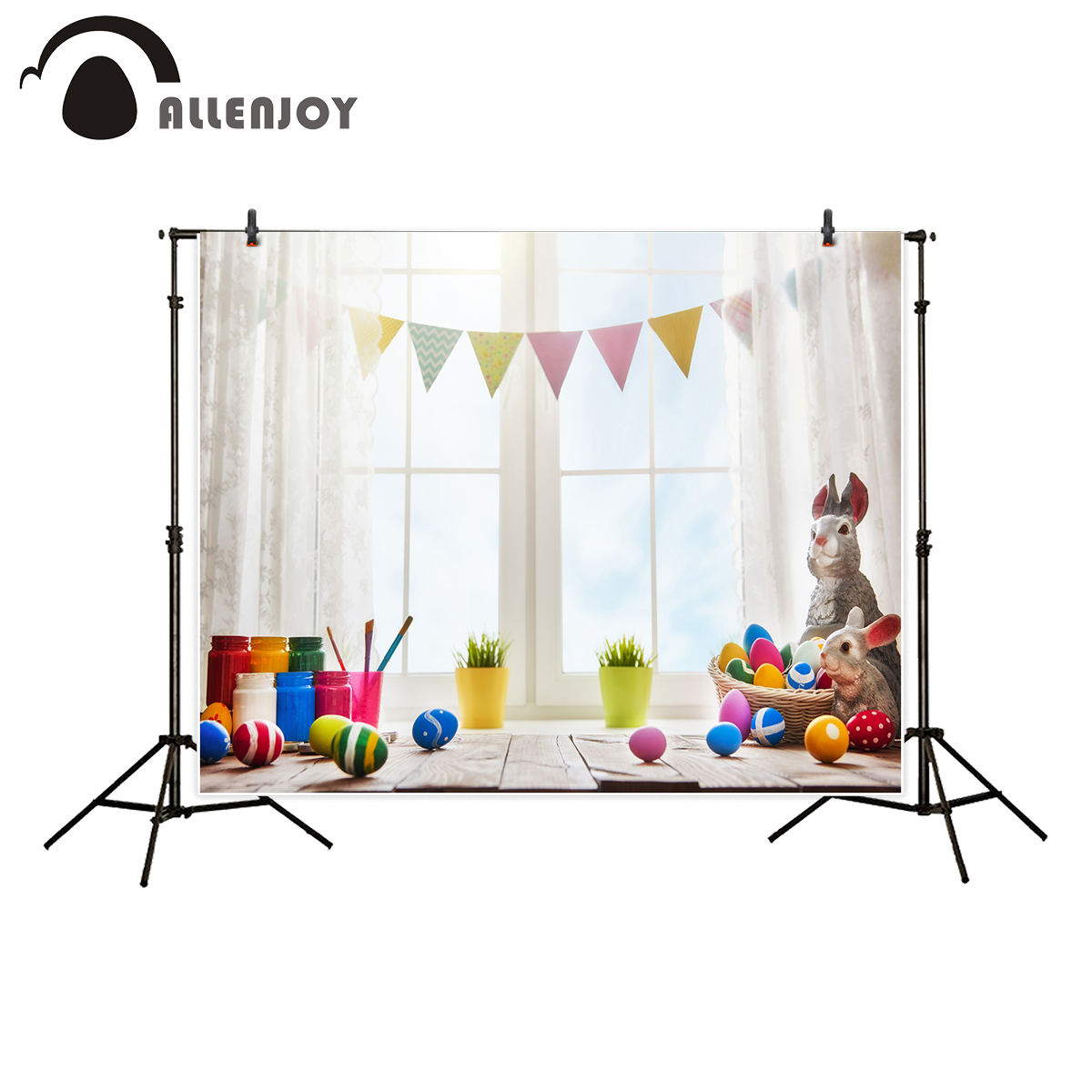 Allenjoy backdrop for photographic studio window flag rabbit Easter colorful eggs spring background photo prop new photocall