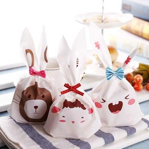 Лидер продаж, 10 шт., милая сумка для печенья с кроличьими ушками, пластиковая подарочная сумка конфет, холлоуин, свадебное украшение, товары ...