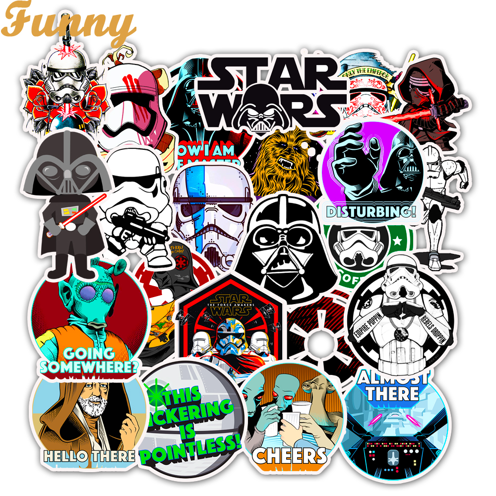 50Pcs Movie Star Wars Sticker Waterproof For Laptop Moto Skateboard Luggage Guitar Furnitur Decal Toy Stickers50Pcs Movie Star Wars Sticker Waterproof For Laptop Moto Skateboard Luggage Guitar Furnitur Decal Toy Stickers