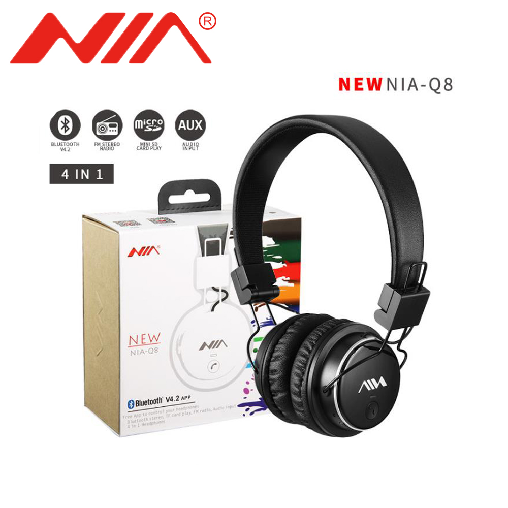 Original NIA Q8 Stereo Bluetooth Headphone Wirelsee Stereo Foldable Sport Headsets Support APP with Mic Support TF Card FM Radio nia 1682s original stereo headphones 10 colors collapsible music player portable headset support tf card fm radio free shipping