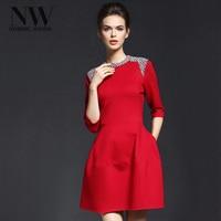 Zarif Kadın Elbiseler Akşam Parti Boncuk Elbise Diz Boyu Kırmızı Casual Katı Bahar Vintage Bir Çizgi O Boyun Elbise 2018 yaz