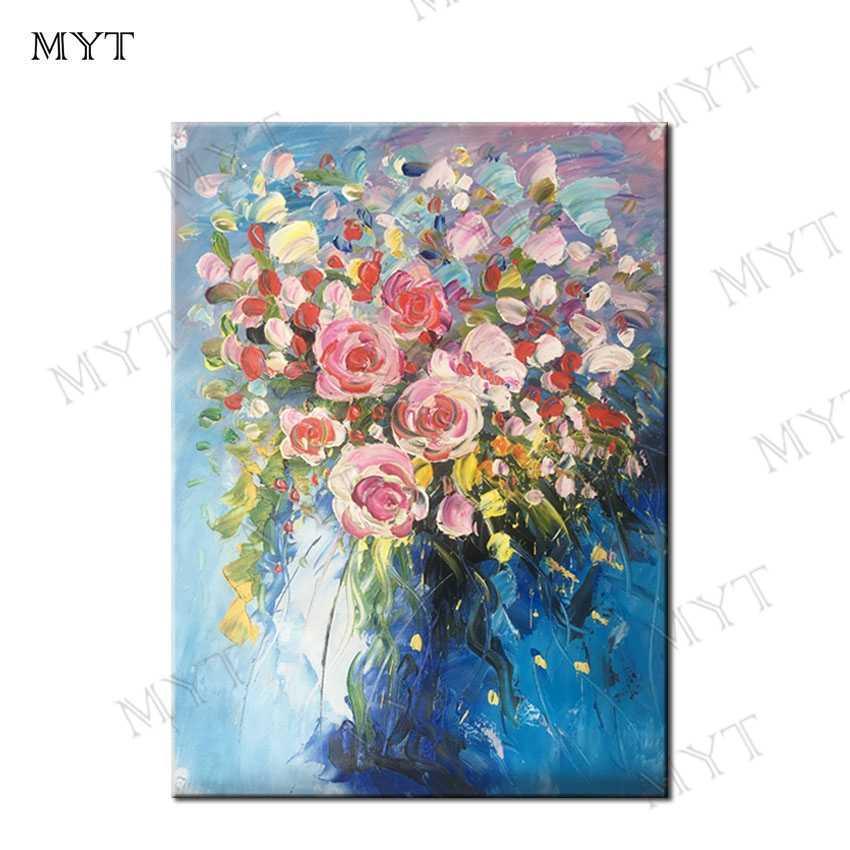 MYT بدون إطار صورة بدون إطار زهرة خمر 100% رسمت باليد أوروبا رسمت باليد النفط الطلاء على قماش الاكريليك الطلاء الزهور
