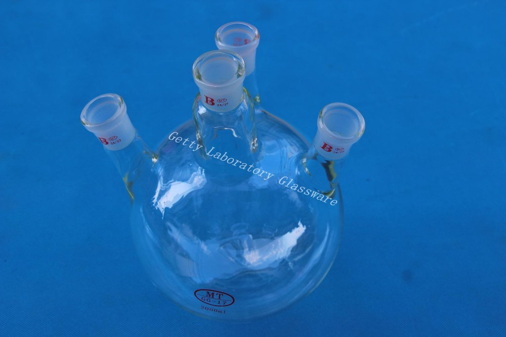 цена на 2000mL 4-neck Round bottom flask , 2L four neck, 24/29 joint,heavy wall (Borosilicate glass 3.3 material)