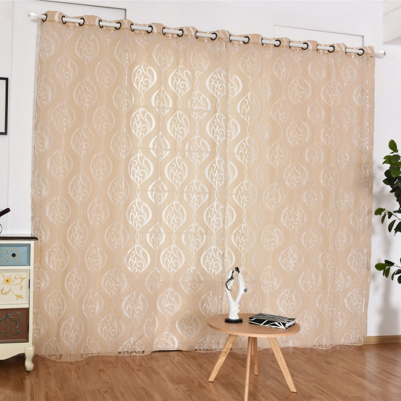 New Kitchen Curtain Voile Curtain Chic Room Flower Sheer Curtain Home Decoration 2 Size For Choose curtains for living room