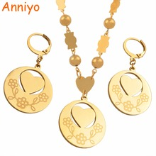 Anniyo Heart Pendant Earrings Color Beads Necklaces Jewelry sets for Women Hawaii Island Marshall Jewellery Gifts #026721S anniyo big size marshall jewelry set pendant ball beads necklaces earrings for women gold color ethnic jewellery gifts 123406