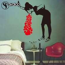Banksy Girl Lady Vomit Heart Love Vinyl Wall Sticker Decal Girls Room Street Art Stickers 80x97cm