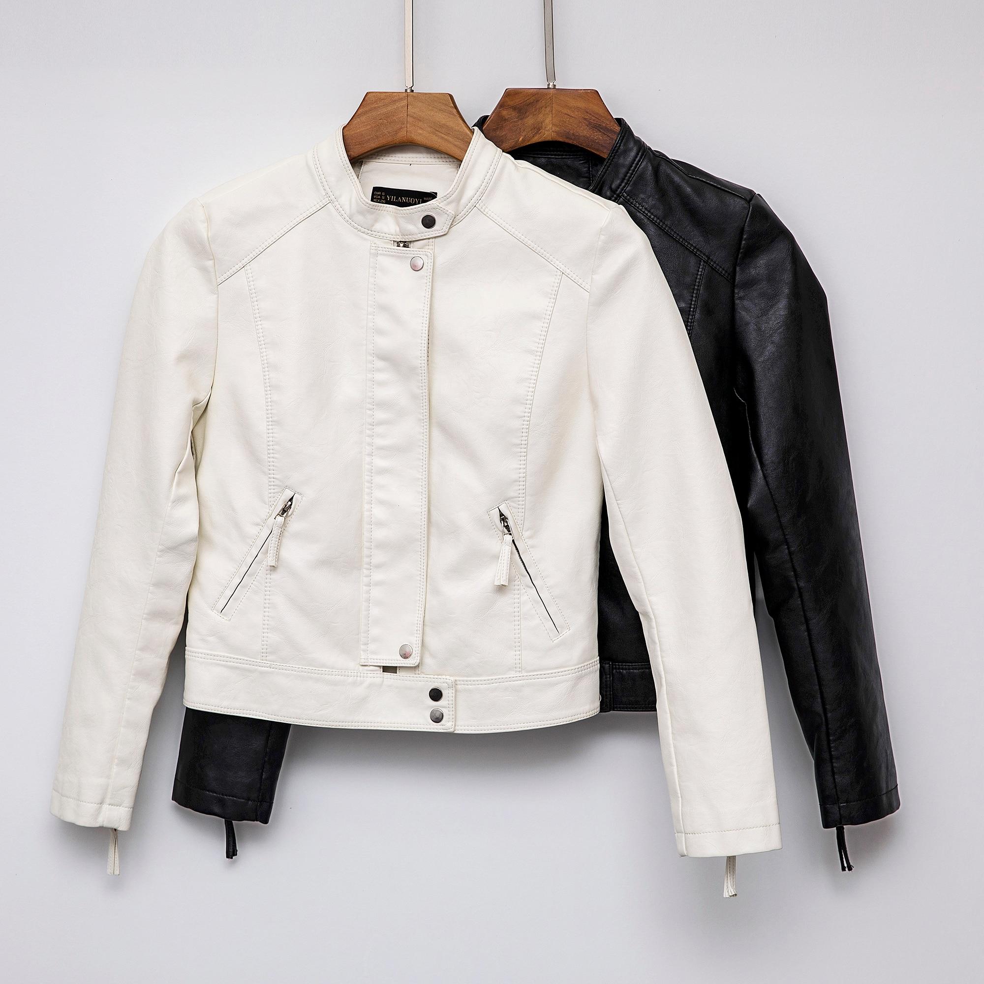 2019 New Fashion Women Casual Autumn Winter Faux   Leather   Jackets Office Lady Long Sleeve PU Black Beige Biker Outerwear Coats