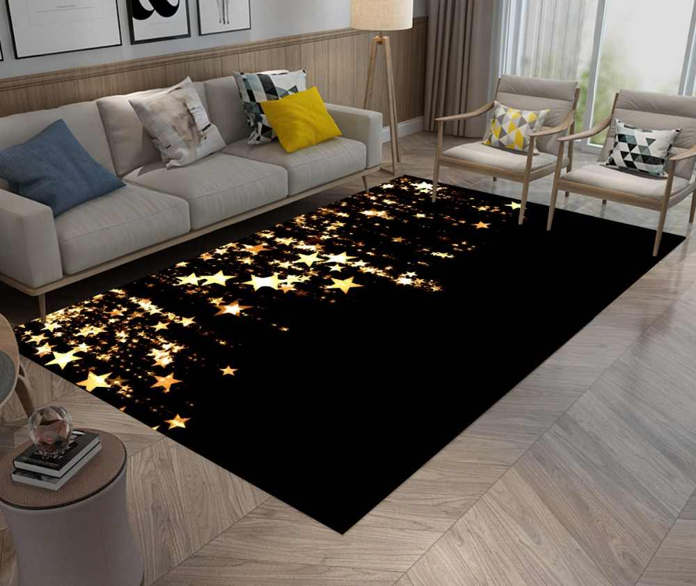LB Gold Star Black Doormat Art Christmas Area Rug And Carpet Bedroom Floor  Mat for Kid Home Living Room Cushion Kitchen Bathroom