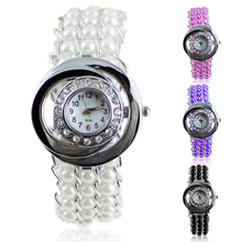 Hot Sales Lady Rhinestone Faux Pearl Watches Analog Quartz Round Dial Bracelet Wrist Watch New Design
