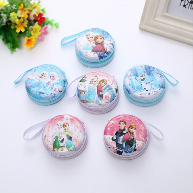 hot sale cartoon coin purse Elsa Anna princess girls key case wallet children snow queen headset bag coin bag