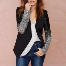 Zanzea Women Blazers and Jackets 2019 Autumn Work Blazer Suit Long Sleeve Bling Silver Black Sequin