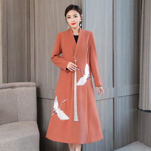 Autumn Chinese Wind Women Woolen Coat 2018 New Style Winter Long Sleeve And Embroidered Designs Thicken