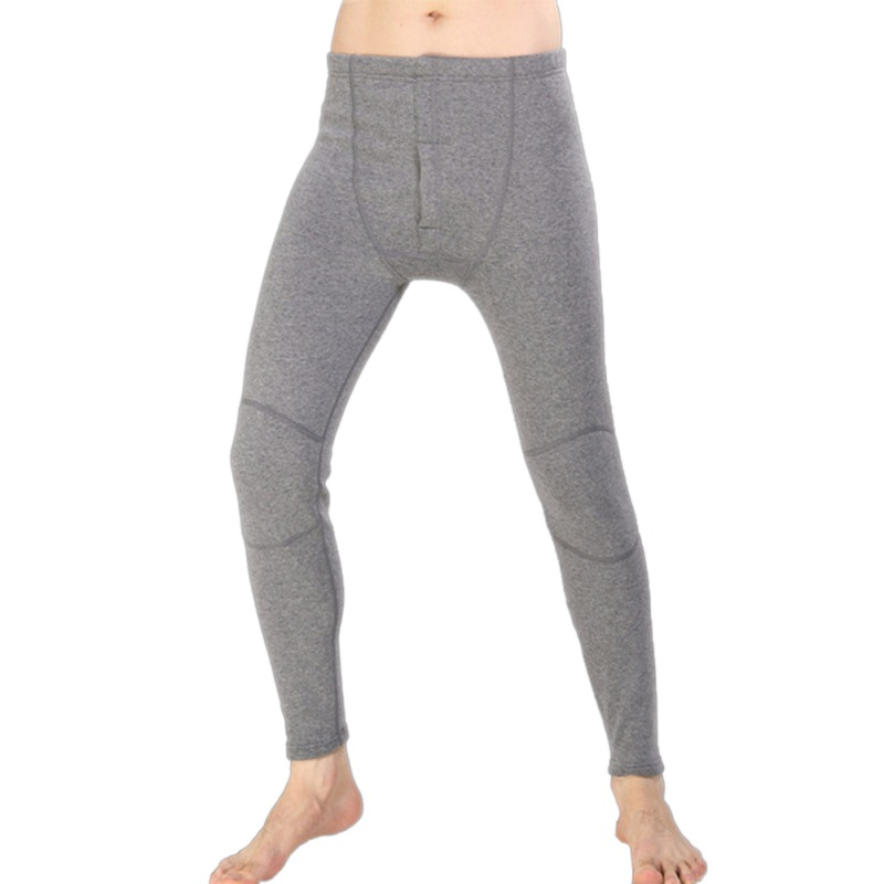 2018 Winter Solid Plush Cotton Thermal Underwear Men Sleep Bottom Home Service Soft Plus Velvet Thicken Large Size Warm Pant