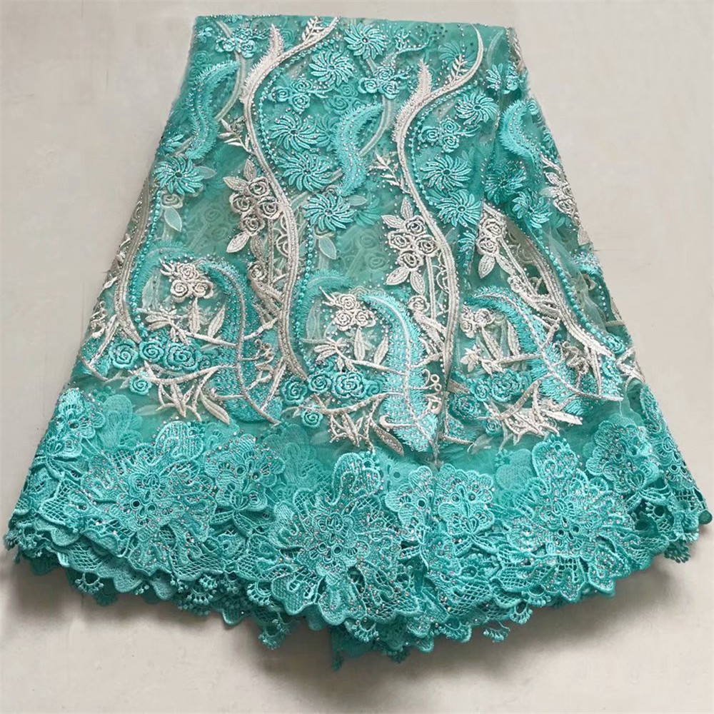 HFX Dark Green Nigerian french net lace tulle embroidered swiss voile african lace fabrics with stones beads 5yards/lot  X276-1HFX Dark Green Nigerian french net lace tulle embroidered swiss voile african lace fabrics with stones beads 5yards/lot  X276-1