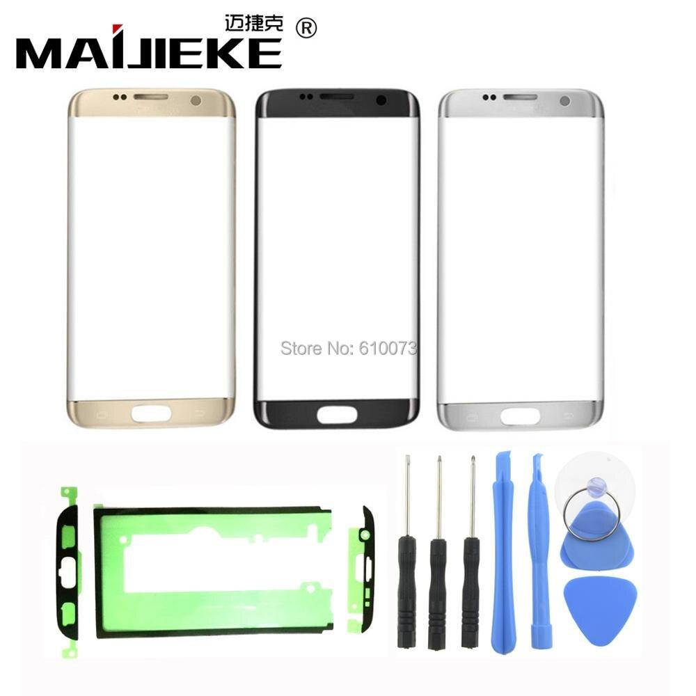 Avant Outer Lentille En Verre kits Pour Samsung Galaxy S7 bord G935 G935F Façade En Verre 5.5 Écran tactile LCD Extra-Atmosphérique Panneau + Adhésif Outils