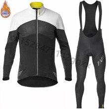 2019 pro team Mavic long sleeve cycling jersey Mens Winter MTB bike clothing Thermal Fleece Bicycle bib pants set Ropa Ciclismo