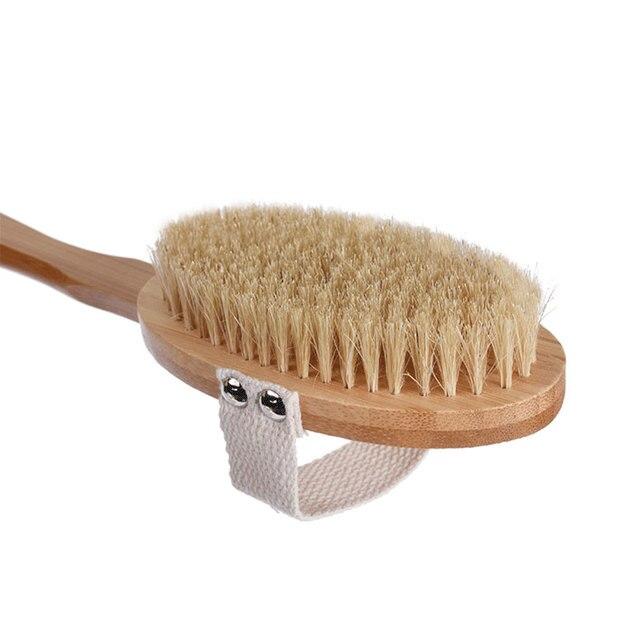 New natural bristle bath brush super long handle wooden bristles soft hair rub back shower massage Shower Brush Body brush 5