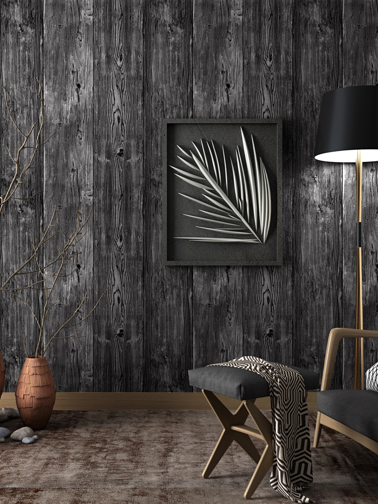 Painting Wood Panel Walls: Bacaz Chinese Style Grey Embossed Wood Textue Wall Paper