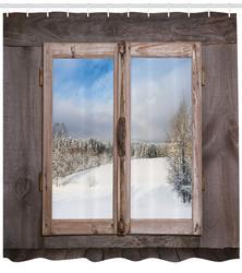 Rustykalna zasłona prysznicowa scena zimowa z drewniane okno domek na wsi śnieg Vintage Design zestaw dekoracyjny do łazienki