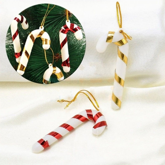 40pcslot Plastic Candy Cane Ornaments Christmas Tree Hanging New Plastic Candy Cane Decorations