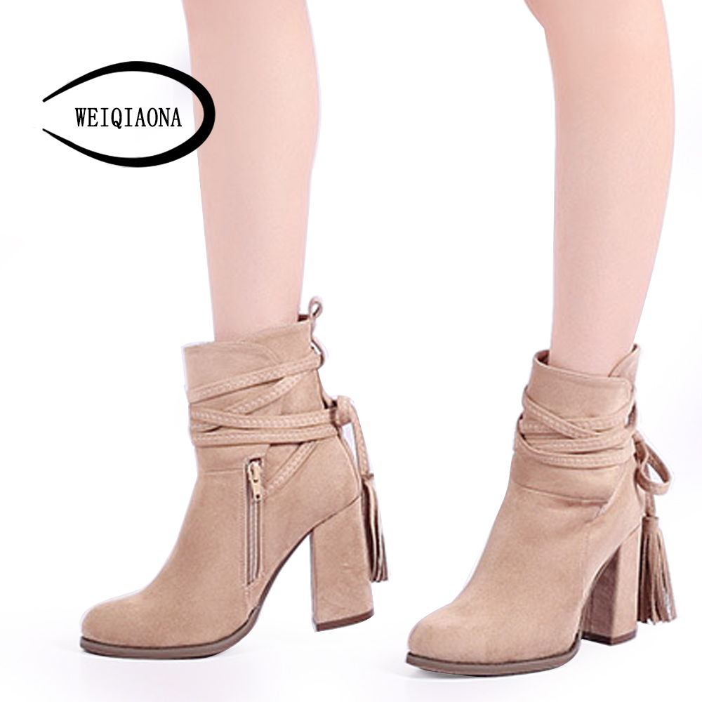 Fashion boots autumn winter new arrive women boots round toe lace-up flock boots square heel ankle boots  WEIQIAONA front lace up casual ankle boots autumn vintage brown new booties flat genuine leather suede shoes round toe fall female fashion