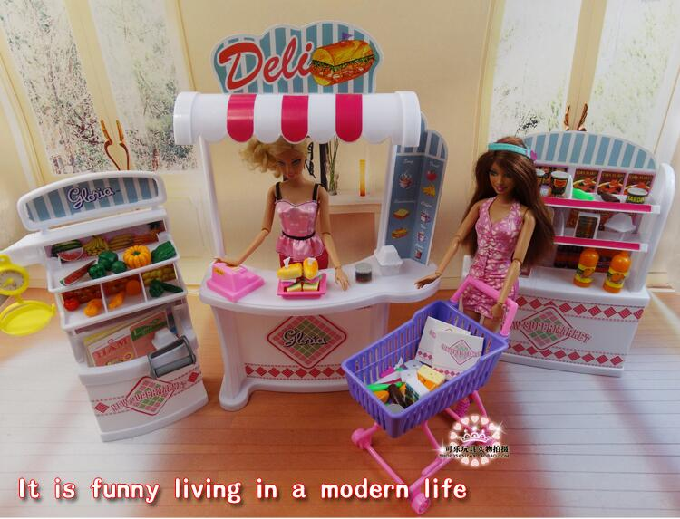 Fashion Original For Princess Barbie Store Accessories 1/6 Bjd Doll House Furniture Supermarket Child Toy Gift