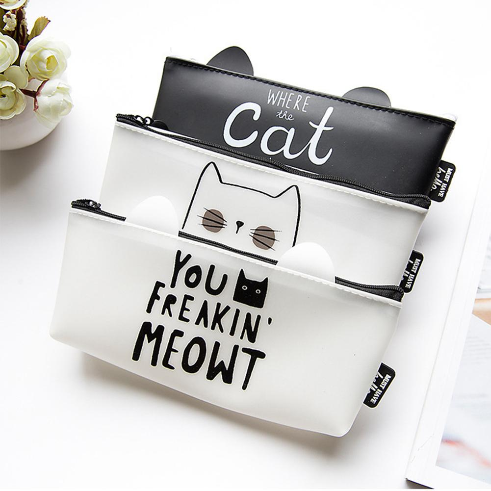 New Cute Cat Letter Pen Pouch Pencil Case Stationery Storage Bag Student Gift