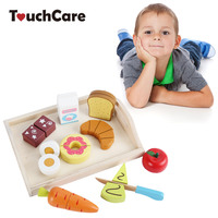 TouchCare Kids Wooden Toys Children Simulation Kitchen Tool Pretend Play Cutting Fruit Vegetable Miniature Food Wood