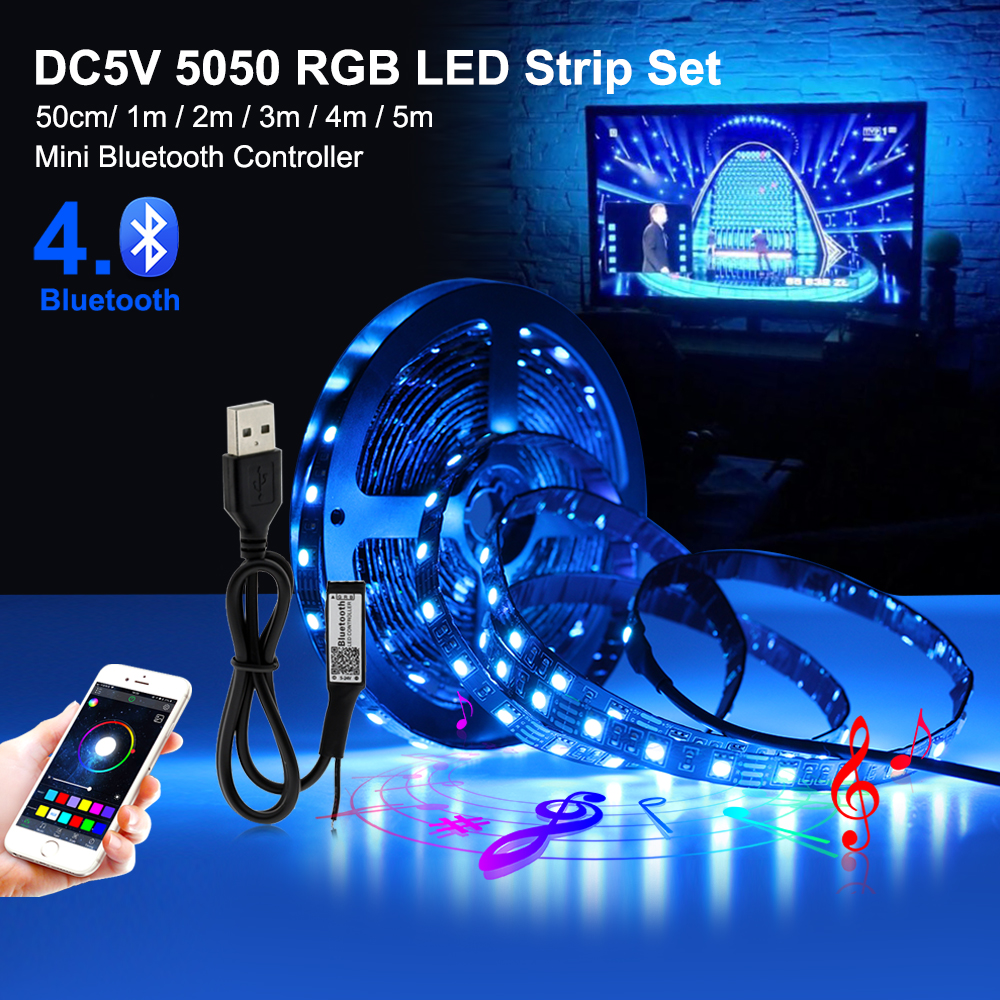 Bluetooth Usb Led Strip 5050 Rgb Flexible Led Light Dc5v APP Control For TV Backlight Led Light Strip Sound Sensor Music Strip