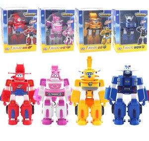 Image 2 - HOT 17*11 cm Super Ali giocattoli Aereo ABS Action Figures Super Ala Trasformazione Robot Jet di Animazione per il compleanno regali