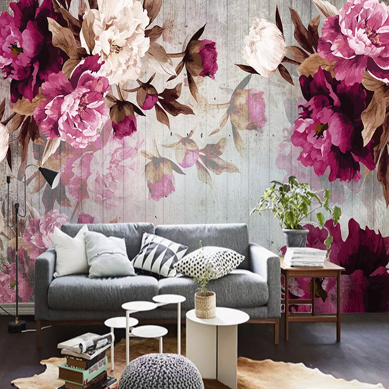 Custom Photo Wallpapers Hand-painted Peony Wood Grain 3D Mural Painting Wall Cloth Living Room TV Wall Papers Home Decor Fresco