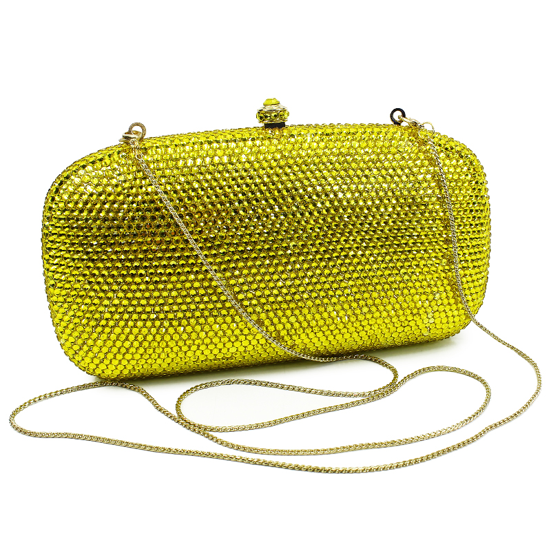 New Women Crystal Luxury Evening Handbag Clutch Bag for Wedding Party Diamonds Lemon Yellow With Gold Chain(B1034-G) luxury real new arrival day clutches diamonds flower women bag banquet crystal handbag wedding party handbags night clubs purse