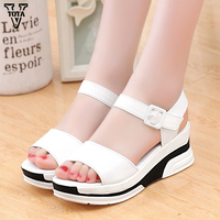 2016 Platform Sandals Women Summer Shoes Soft Leather Casual Shoes Open Toe Gladiator Wedges Trifle Mujer