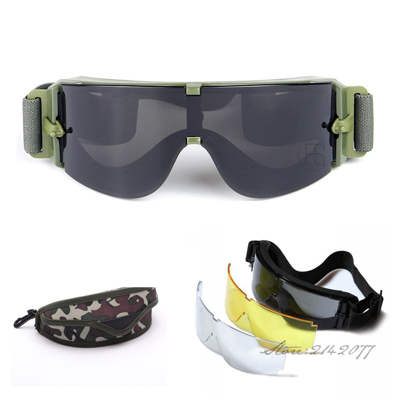 X800 Okulary wojskowe 3 Obiektywy Tactical Army Okulary Paintball Airsoft Hunting Combat Tactical Glasses