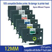 6pcs 12mm Mixed tape Compatible For Brother tz131 tz231 tz431 t531 tz631 tz731 Laminated Ribbon Cassette p touch